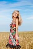 Mulher que anda no campo de trigo Imagem de Stock