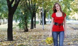 Mulher que anda no parque Imagem de Stock Royalty Free