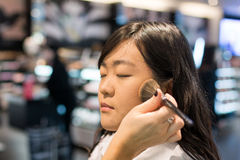 Mulher que aplica cosméticos Foto de Stock Royalty Free