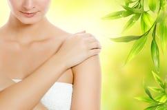 Mulher que aplica cosméticos orgânicos Fotos de Stock Royalty Free