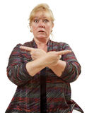 Mulher que aponta ambos os sentidos Foto de Stock Royalty Free