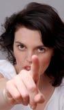 Mulher que aponta em você Imagem de Stock