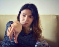 Mulher que aponta o dedo Imagem de Stock Royalty Free