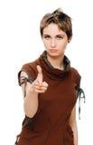 Mulher que aponta seu dedo em você Imagens de Stock