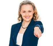 Mulher que aponta seu dedo em você Foto de Stock