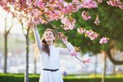Mulher que aprecia a estação da flor de cerejeira em Paris, França fotos de stock royalty free