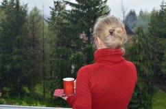 Mulher que aprecia o café ou o chá na paisagem foto de stock