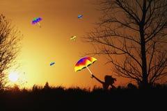 Mulher que aprecia o sol fora Fotos de Stock Royalty Free