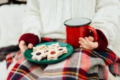 Mulher que aprecia suas cookies do Natal e uma bebida em um winte frio Fotos de Stock