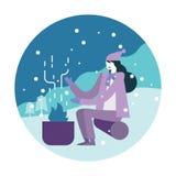 Mulher que aquece-se com acampamento do fogo ilustração do vetor
