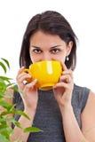 Mulher que bebe o chá quente foto de stock