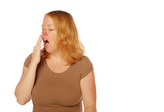 Mulher que boceja Imagens de Stock Royalty Free