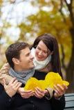 Mulher que coleta as folhas de outono Fotos de Stock Royalty Free