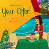Mulher que come o café da manhã na ilustração lisa da praia ilustração stock