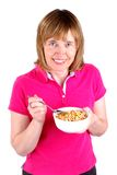 Mulher que come o cereal Fotografia de Stock Royalty Free