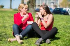 Mulher que come o Hamburger e as batatas fritas Foto de Stock