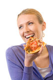 Mulher que come a pizza Imagem de Stock Royalty Free