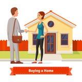 Mulher que compra uma casa nova Mulher caucasiano nova bonita ilustração do vetor