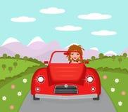 Mulher que conduz o carro de esportes ilustração do vetor