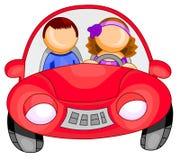 Mulher que conduz um carro ilustração royalty free