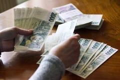 Mulher que conta o dinheiro Imagens de Stock