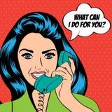 Mulher que conversa no telefone, ilustração do pop art Imagem de Stock