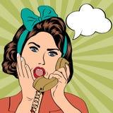 Mulher que conversa no telefone, ilustração do pop art Foto de Stock Royalty Free
