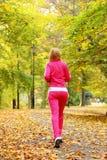 Mulher que corre na floresta do outono.  Treinamento fêmea do corredor. Imagem de Stock