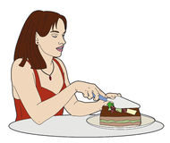 Mulher que corta um bolo Imagem de Stock