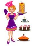 Mulher que cozinha a ilustração dos bolos Fotografia de Stock