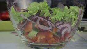 mulher que cozinha o ponto baixo do vegetariano - a salada grega da caloria, põe vegetais em uma bacia vídeos de arquivo
