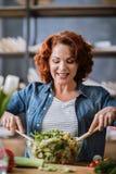 Mulher que cozinha a salada vegetal Fotografia de Stock