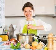 Mulher que cozinha a sopa com carne Fotografia de Stock