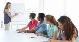 Mulher que dá a apresentação das ideias a seus colegas em uma reunião vídeos de arquivo