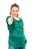 mulher que dá dois polegares acima Imagens de Stock Royalty Free