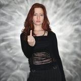 Mulher que dá o dedo médio. Fotos de Stock Royalty Free