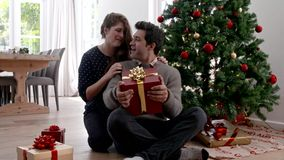 Mulher que dá o presente de Natal da surpresa ao marido filme