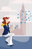 Mulher que datilografa messeges curtos Imagem de Stock