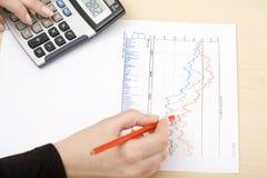Mulher que desenha um gráfico Fotografia de Stock