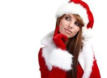 Mulher que desgasta o chapéu de Santa imagem de stock