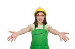 Mulher que desgasta o chapéu duro Foto de Stock Royalty Free