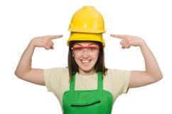Mulher que desgasta o chapéu duro Fotografia de Stock Royalty Free
