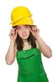 Mulher que desgasta o chapéu duro Imagens de Stock