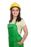 Mulher que desgasta o chapéu duro Fotografia de Stock