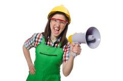 Mulher que desgasta o chapéu duro Fotos de Stock Royalty Free
