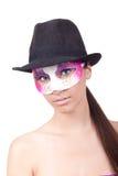 Mulher que desgasta uma máscara misteriosa Imagem de Stock Royalty Free
