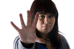 Mulher que diz o BATENTE Fotografia de Stock Royalty Free