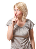 Mulher que diz o shh imagens de stock