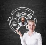 Mulher que escolhe um homem, ícones do negócio Imagens de Stock