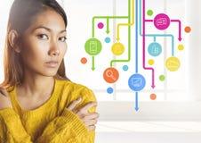 Mulher que está ao lado dos ícones da aplicação Foto de Stock